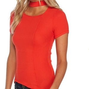 NWT II Free People Red Mock Neck Keyhole Top L